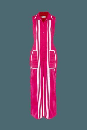 ADIDAS ORIGINALS + Ji Won Choi striped satin-jersey jumpsuit