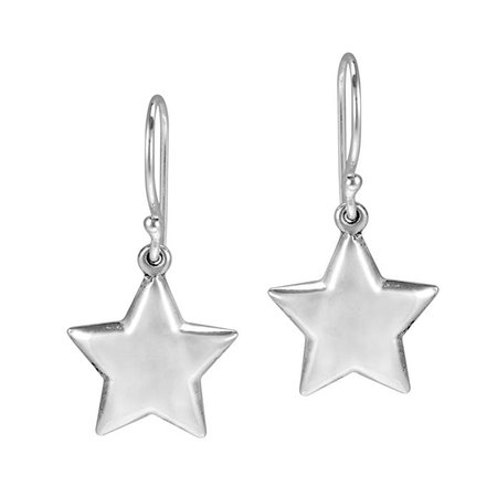 Amazon.com: Lucky Twinkle Stars .925 Sterling Silver Dangle Puff Earrings: Clothing