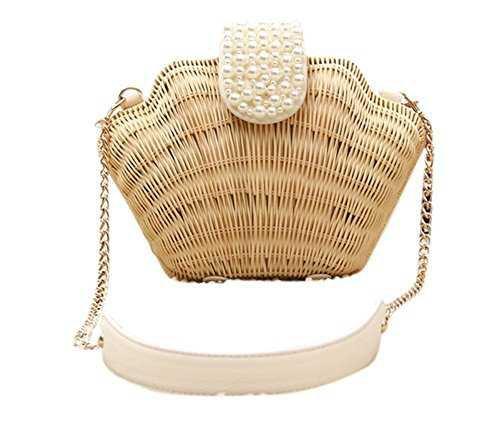 Bronze Times (TM)Womens Manmade Straw Pearl Shell Weave Purse Crossbody Bag (A-beige): Handbags: Amazon.com