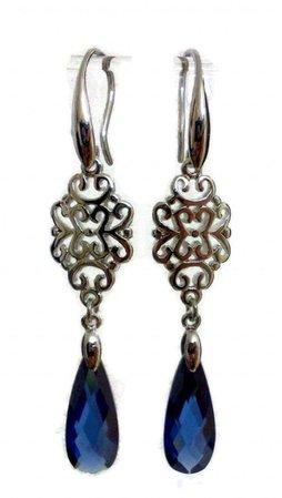something-blue-earrings-navy-bridal-earrings-bridesmaid-earrings-montana-cubic-zirconia-jewelry-charisma.jpg (640×1132)