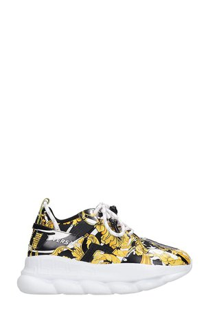 Versace Chain Reaction Sneakers In Black Leather