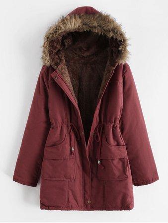 [24% OFF] [POPULAR] 2019 Faux Fur Pocket Zip Drawstring Parka Coat In RED   ZAFUL Europe burgundy