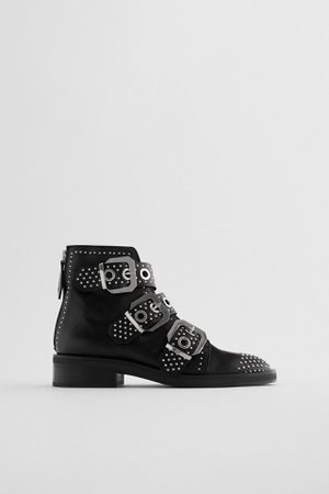 STUDDED FLAT LEATHER ANKLE BOOTS WITH BUCKLES | ZARA Portugal