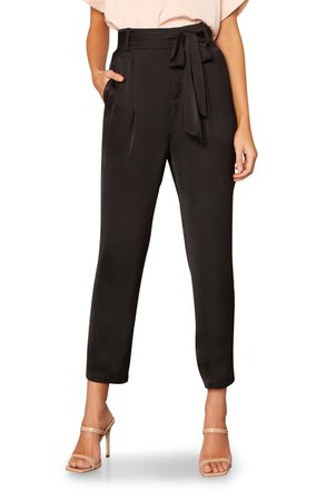 cupcakes and cashmere Mazzy Belted Tapered Crop Satin Pants   Nordstrom