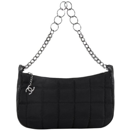 Chanel Square CC Charm Pochette Quilted Nylon Medium