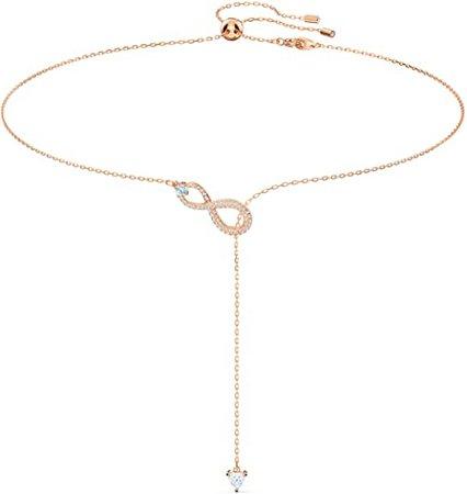 SWAROVSKI Women's Infinity Y Necklace, White, Rose-gold tone plated: Jewelry