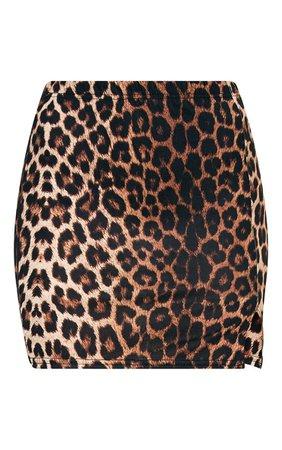 Brown Leopard Print Split Mini Skirt | PrettyLittleThing USA