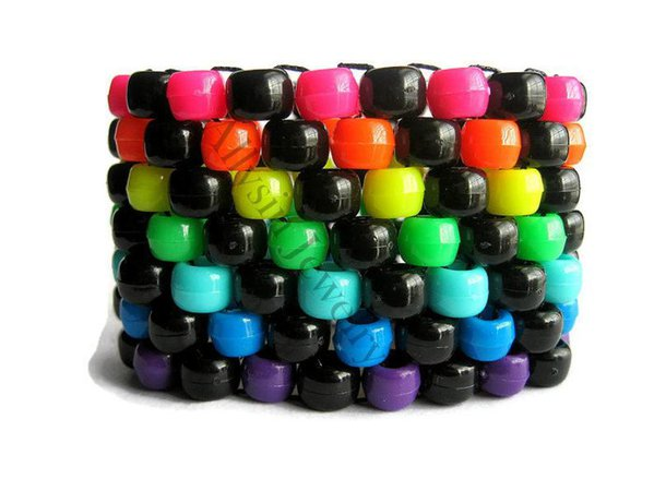 Rainbow Black Kandi Cuff Neon Bracelet Raver Plur | Etsy