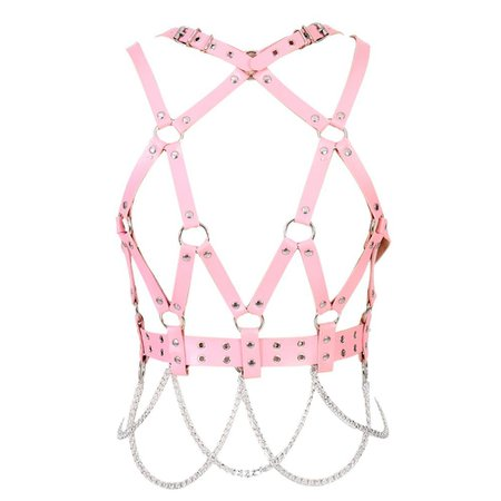2019 Pink Leather Body Harness Bra