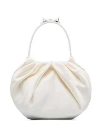 Simone Rocha Embellished Ruched Silk-Satin Clutch Bag BAG811B0262 Cream | Farfetch