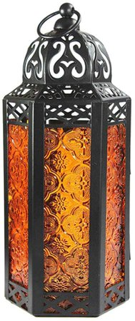 Uonlytech Moroccan Hanging Lantern, Vintage Wrought Iron Hanging Candle Holder, Moroccan Candle Holder for Courtyard Table (Orange): Amazon.ca: Patio, Lawn & Garden