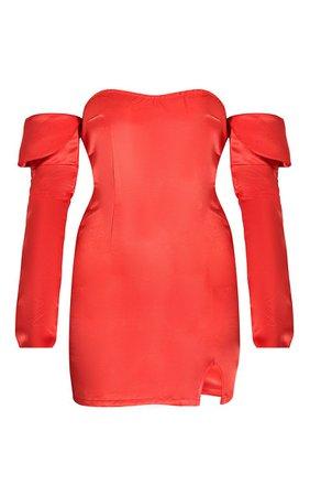 Red Satin Extreme Sleeve Bardot Bodycon Dress | PrettyLittleThing USA