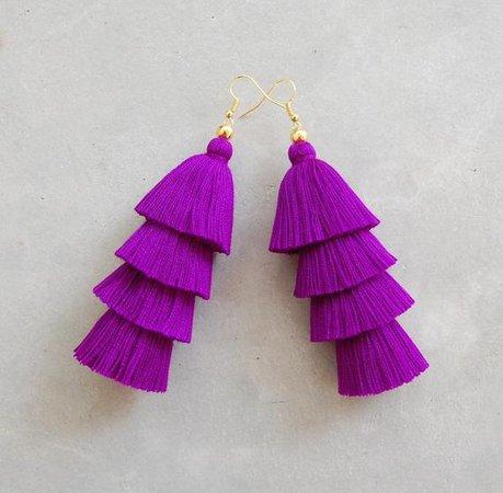 Four Tired Purple Tassel Earrings | Etsy