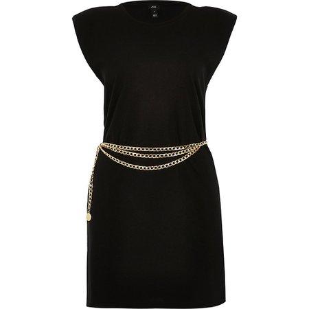 Black sleeveless shoulder pad t-shirt dress | River Island