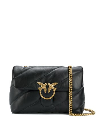 Shop black Pinko quilted shoulder bag with Express Delivery - Farfetch