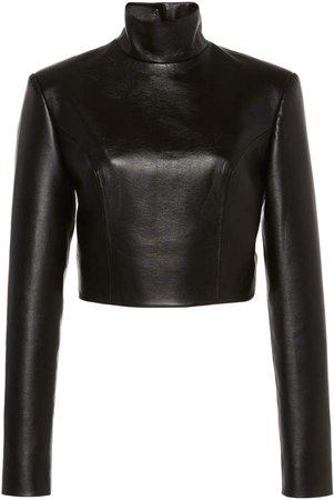 Faux Leathr Black Long Sleeve Turtleneck With Buttoned Back