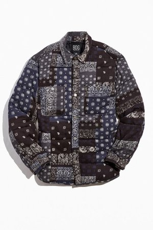 BDG Bandana Quilted Shirt Jacket   Urban Outfitters