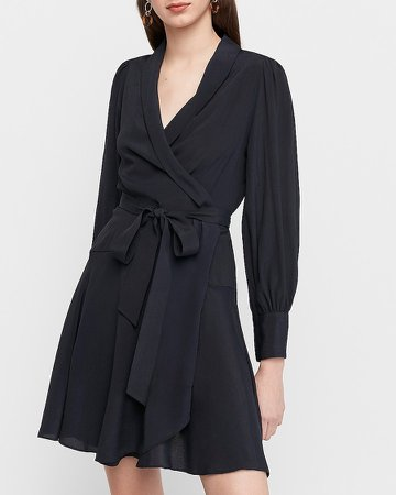 Puff Shoulder Wrap Dress