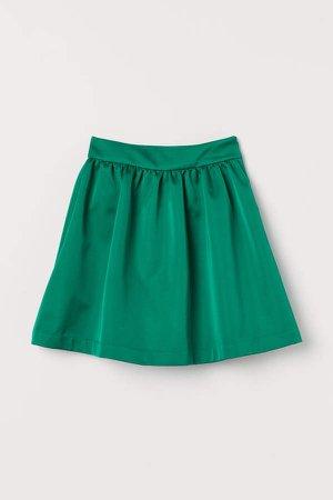 Flared Satin Skirt - Green