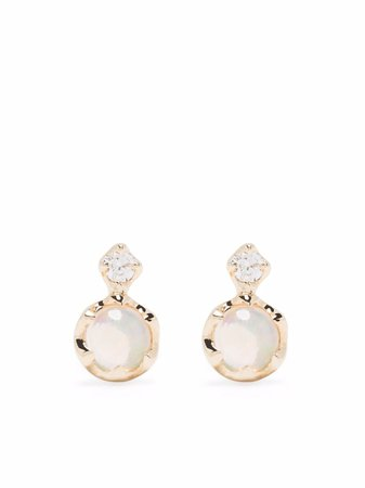 Dinny Hall 14kt yellow gold double opal and diamond stud earrings - FARFETCH