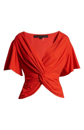 Endless Rose Twist Front Ruffle Sleeve Blouse | Nordstrom