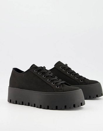 ASOS DESIGN Devoted chunky canvas sneakers in black | ASOS
