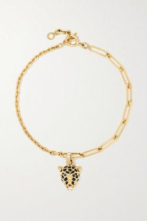 Gold 18-karat gold, enamel, spinel and diamond bracelet | Yvonne Léon | NET-A-PORTER