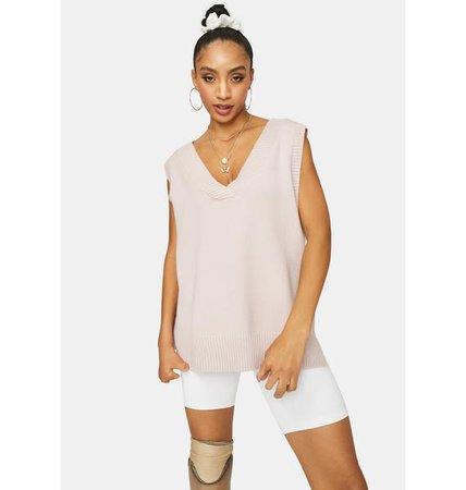 Oversized Knit V Neck Sweater Vest - Blush | Dolls Kill jho