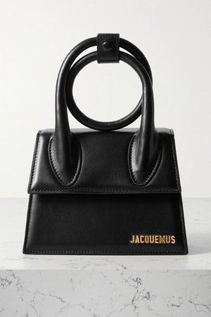 Le Chiquito Noeud Small Leather Shoulder Bag - Black
