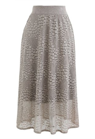 Floret Lace Knit Reversible Midi Skirt in Taupe - Retro, Indie and Unique Fashion
