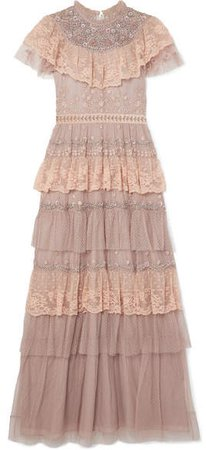 Cinderella Tiered Embellished Tulle And Lace Gown - Pink