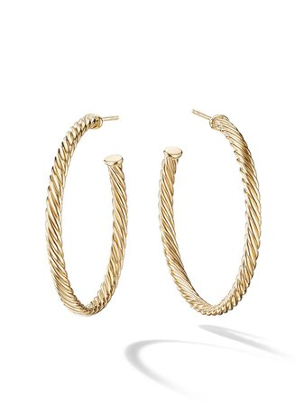 David Yurman, 18Kt Yellow Gold Medium Cablespira Hoop Earrings