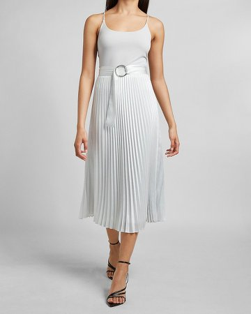 High Waisted Belted Pleated Midi Skirt