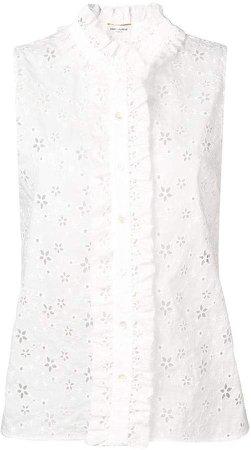 floral crochet sleeveless blouse