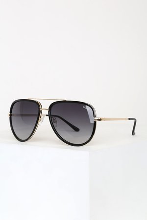 Quay All In Aviators - Black and Gold Sunnies - Gold Aviators