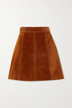 Panpi Cotton-blend Corduroy Mini Skirt - Brown