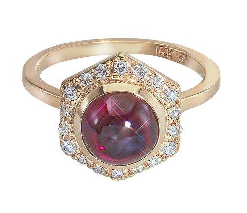 Favo Hexagon Red Rhodolite Garnet Cabochon Ring with Diamonds in 14k Yellow Gold by GiGi Ferranti