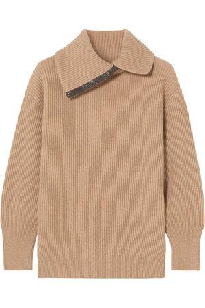 Brunello Cucinelli   Bead-embellished ribbed cashmere turtleneck sweater   NET-A-PORTER.COM