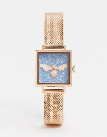 Olivia Burton square mesh lucky bee watch in rose gold | ASOS