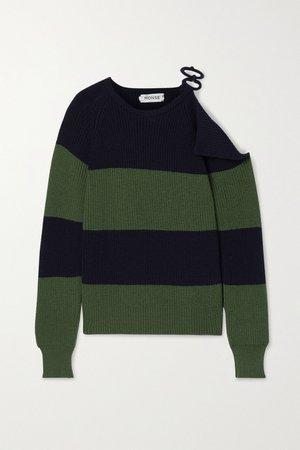 Navy Embellished cutout striped merino wool sweater | Monse | NET-A-PORTER