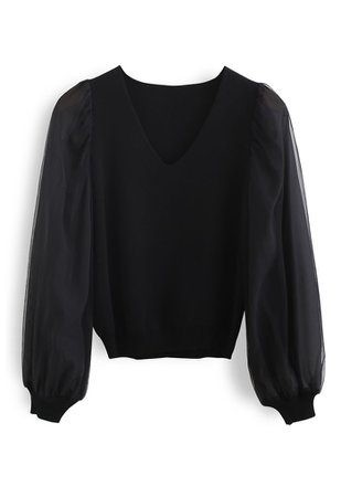 Organza Mesh Sleeves V-Neck Knit Top in Black - Retro, Indie and Unique Fashion
