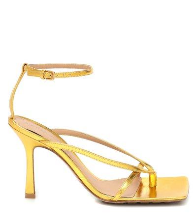 Metallic Leather Sandals - Bottega Veneta | Mytheresa