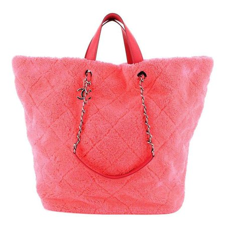 Chanel CC Charm Shopping Tote Quilted Mixed Fibers Large For Sale at 1stDibs