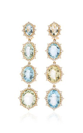 18k White Gold Aquamarine, Diamond Earrings By Goshwara   Moda Operandi