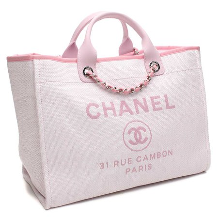 pink channel tote bag