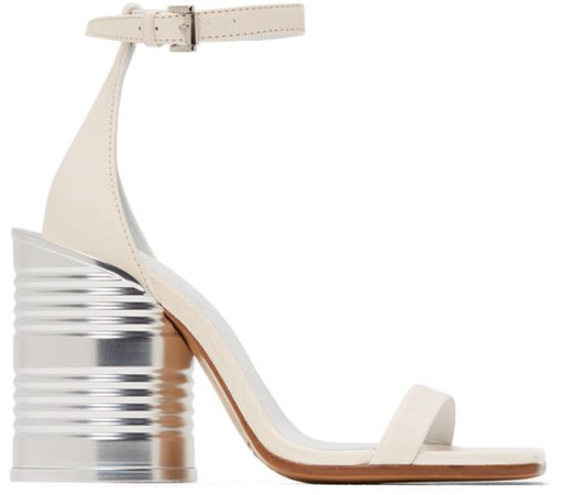 White Can Heel Sandals
