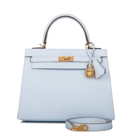 Hermes Bleu Brume Epsom Sellier Kelly 25cm bag