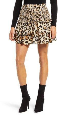 Animal Print Smocked Skirt