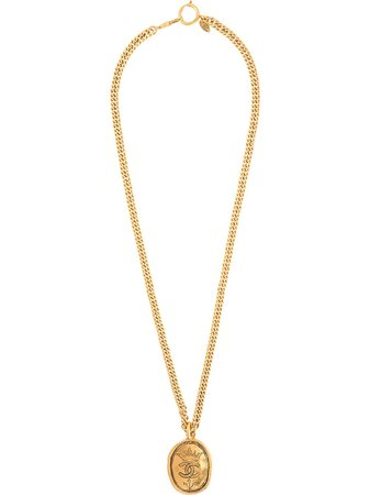 Chanel Pre-Owned 1993 Oval CC Medallion Necklace - Farfetch