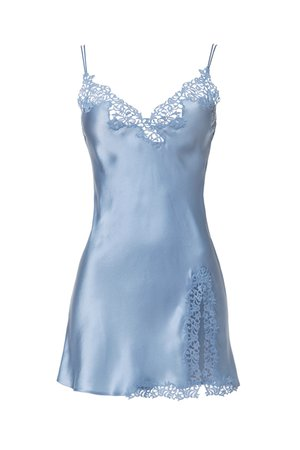 Short Light Blue Silk Dress